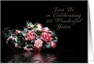 Invitation 20th Wedding Anniversary Bouquet Of Flowers With Water