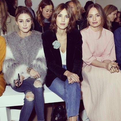 Alexa Chung and Olivia Palermo kept it cool at Emilia Wickstead. Chung went with a pair of super-trendy, cropped loose-fitting jeans (that EVERYONE is wearing) and a blazer while Palermo kept cozy in a fur coat and distressed skinnies.
