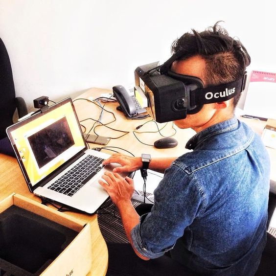 An awesome Virtual Reality pic! @nicholasiggychu having a go at testing out the #oculusrift  #oculus #vr #virtualreality by colortvstudio check us out: http://bit.ly/1KyLetq