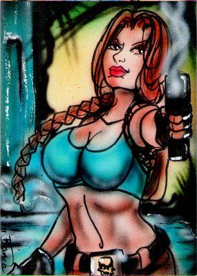 TOMB RAIDER LARA CROFT Original Sketch Card Painting by Bianca Thompson