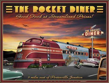 Diners rockets and vintage prints on pinterest for Diner artwork