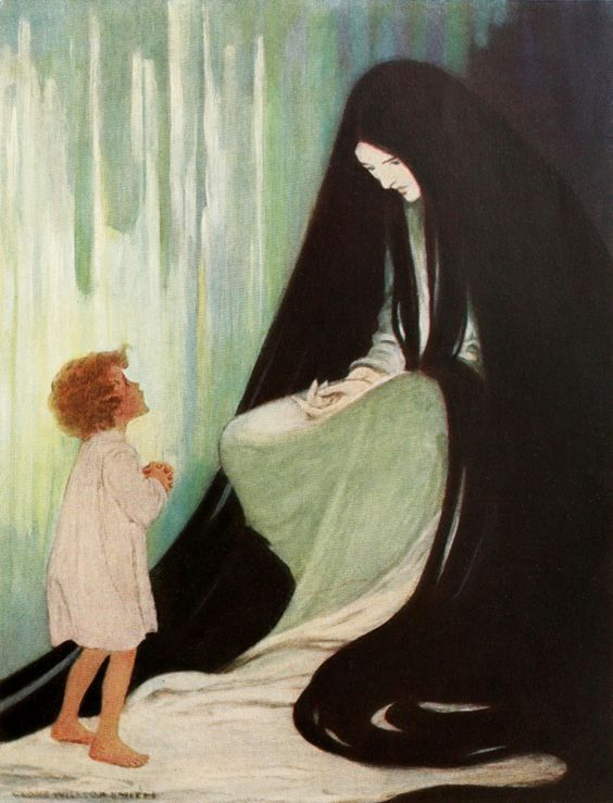 """Are you ill, dear North Wind?"" - Jessie Willcox Smith  illustration from 'At the Back of the North Wind'."