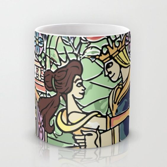 beauty and the beast, belle and her prince, mug by studiomarshallgifts on Etsy