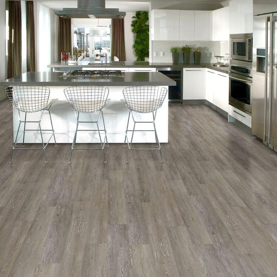 Kitchen Flooring Home Depot: TrafficMASTER Allure Brushed Oak Taupe Resilient Vinyl