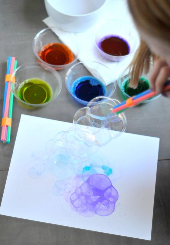 Try this innovative craft with bubble blowing printmaking!: