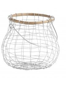 White Wire & Wood Egg Basket