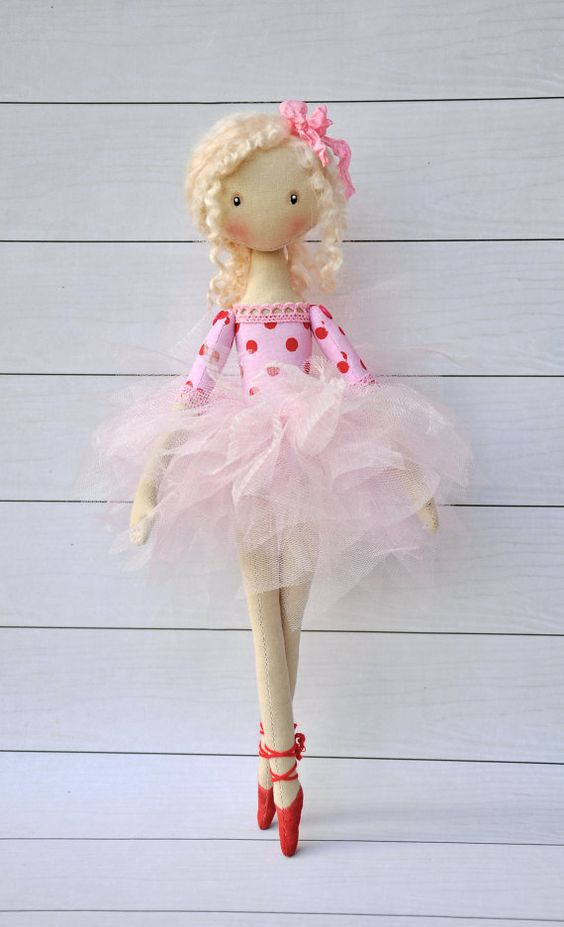 ballerina Doll Textile doll decorative by NilaDolss on Etsy: