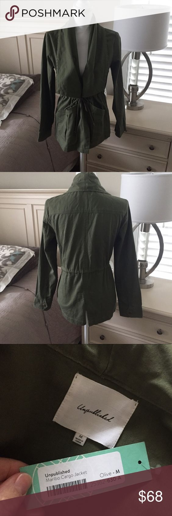 NWT unpublished maribo cargo olive jacket medium NWT unpublished maribo cargo olive jacket medium super cute -Color is actually a little lighter  than shown in pictures due to bad lighting 😊 unpublished Jackets & Coats