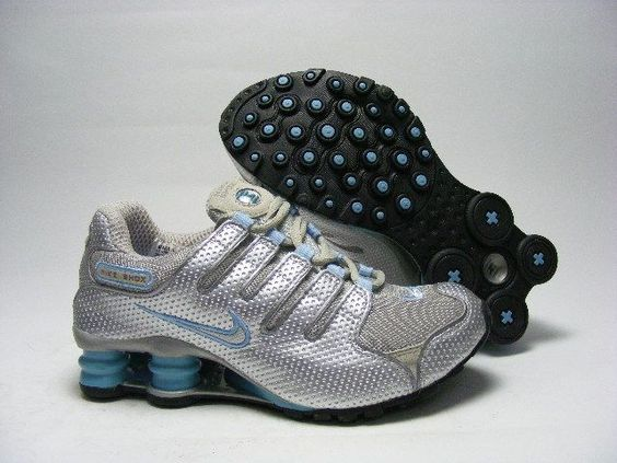 ... only78.58 womens nike shox nz perforated leather metallic silver sky  blue free shipping ...