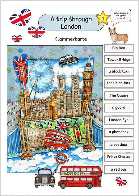 Klammerkarten europa f r kinder london arbeitsbl tter - Frosch auf englisch ...