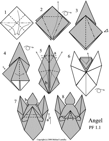 tuto origami ange
