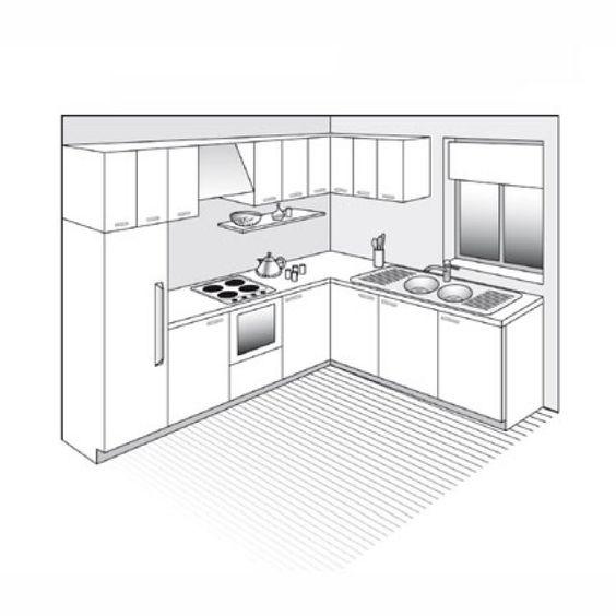 """<p>Plan issu du livre """"La maison sur mesure"""" par Dominique Rabin aux Éditions Le Moniteur.</p> <p><strong>D'autres cuisines en L</strong></p>"""