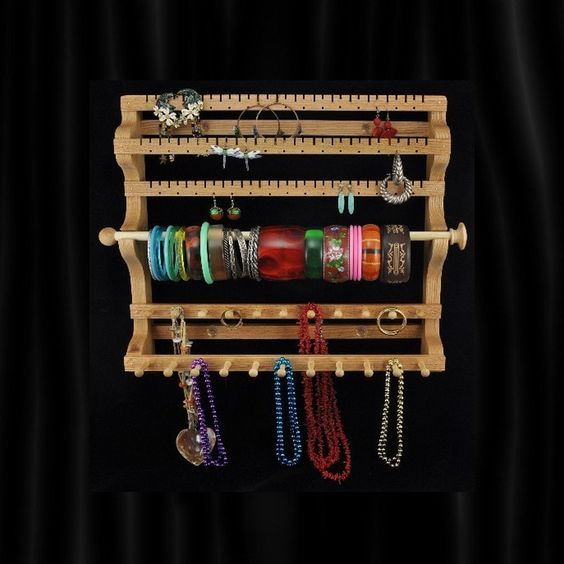 Hanging Combo Earring Necklace Bracelet Storage Holder. $45.95, via Etsy. NEED THIS!