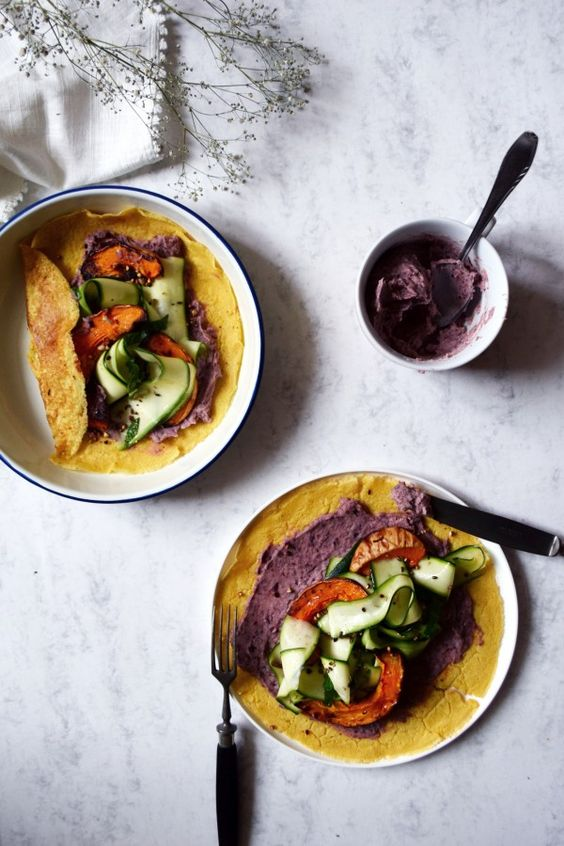 Soccas with red bean cream, marinated zucchinis and roasted butternut squash: