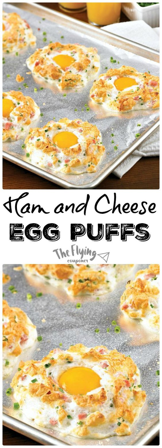 Ham and Cheese Egg Puffs. Easy and healthy breakfast recipe ideas. The ...