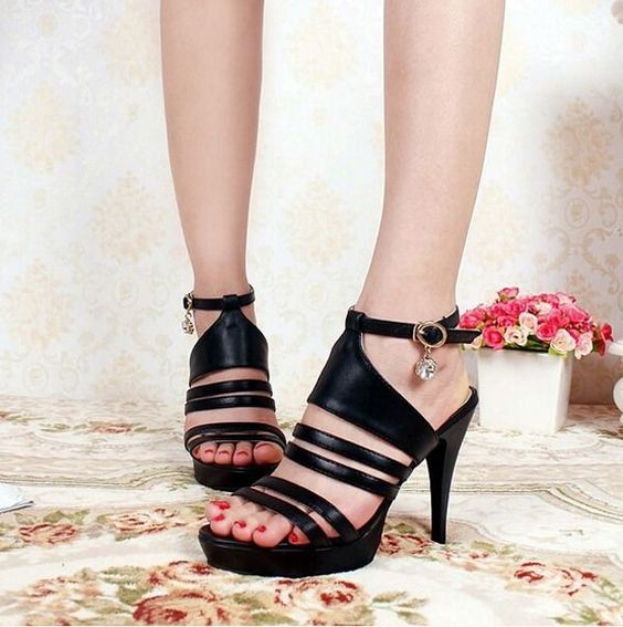 Womens Sexy Peep Toe Strappy Platform Stiletto Pumps Shoes High Heels Sandals