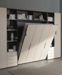 Letto A Ribalta Verticale.Letto A Scomparsa Verticale Modello Abacus Foto Con Librerie