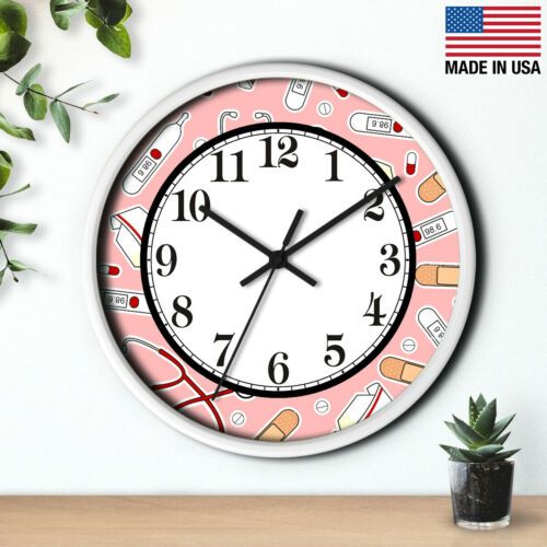 10 Wall Clock Nurse 8 Rn Lpn Np Medical Office Kitchen Decor Birthday Gift Ebay In 2020 Wall Clock Clock Vintage Wall Clock