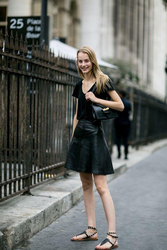 tee & a-line leather. #MaartjeVerhoef #offduty in Paris.