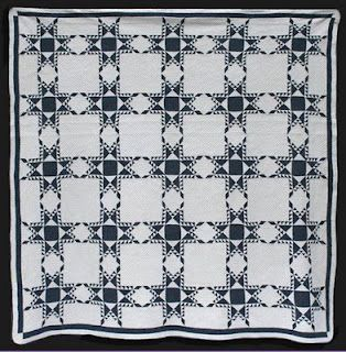 Indigo and White Feather Star. Unknown Quilt Maker. Circa 1870. 94 inches square.