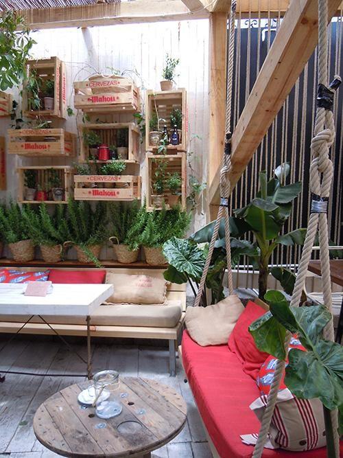 La Terraza De La Manzana Mahou Terraza Decoracion Vintage Columpios