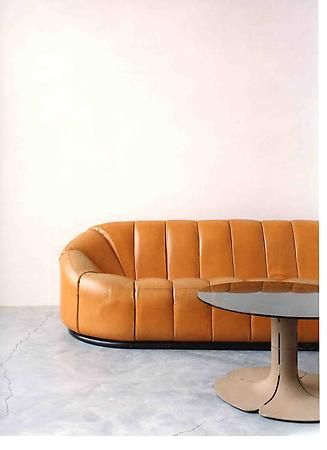 Elysee sofa edited by Alpha International with Elysee low table / Designed by Pierre Paulin [1927-2009] when he 'was invited by the Mobilier national in 1970 to decorate the private apartments of George Pompidou in the Palais de L'Elysee '