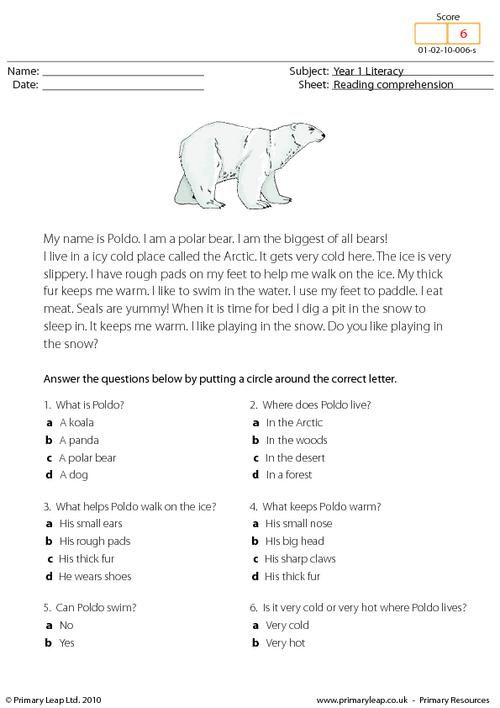 Reading comprehension worksheets pdf with answers