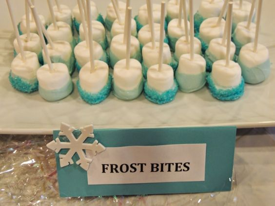 Frozen Birthday Party. Picture 6 of 15. Frost Bites. Frozen Menu. Marshmallow on a stick.