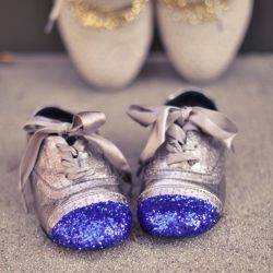 DIY Glitter Cap Toe Shoes