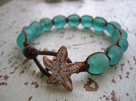 Aqua wrap bracelet - Beachcomber - Boho beach jewelry handmade glass beads leather sea glass starfish nautical aqua seafoam chunky bracelet