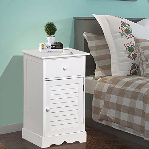 Lovelabel White Bedroom End Table Nightstand Sofa Bed Side Table Bathroom Hall Storage C Storage Furniture Bedroom Small White Bedside Table Nightstand Storage