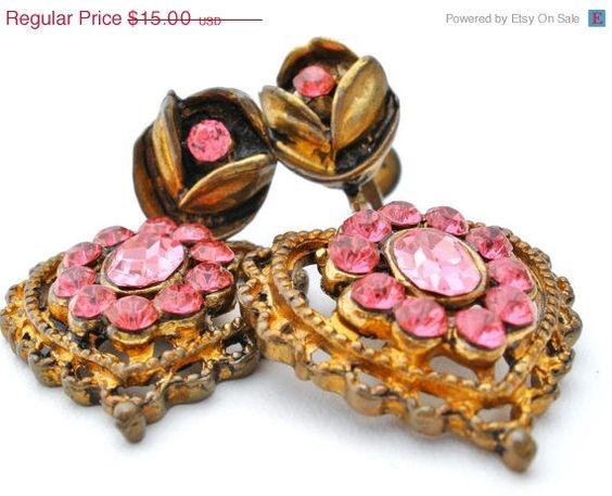 ON SALE Vintage Pink Heart Rhinestone Earrings Dangle Gilded Enamel
