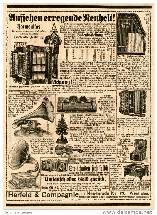 Original-Werbung/Inserat/ Anzeige 1908  :PHONOGRAPHEN/ZITHERN/DREHORGELN/HARMONIKAS/HERFELD & CO. NEUENRADE ca.160x230mm