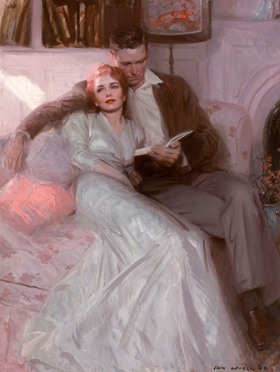 "Tom Lovell, Illustration for ""Back Come The Bride,"" Ladies Home Journal, February 1944."