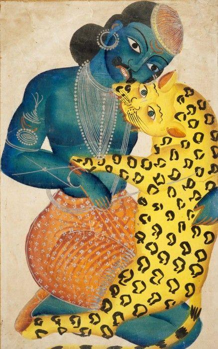 Syamakantha Fighting a Tiger. 19th century, Calcutta.: