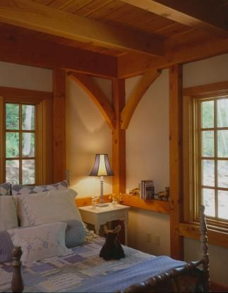 pretty timberframe bedroom