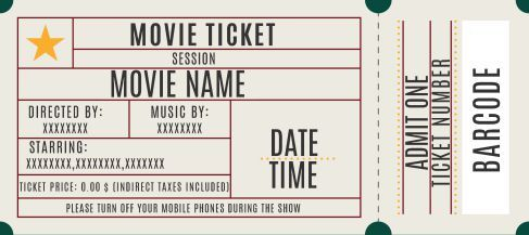 Movie Ticket Template 20 Attractive And Customized Ticket Templates Demplates Ticket Template Movie Ticket Template Movie Tickets