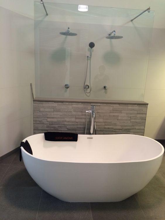 Vrijstaand bad met muurtje  Badkamer  Pinterest  Met