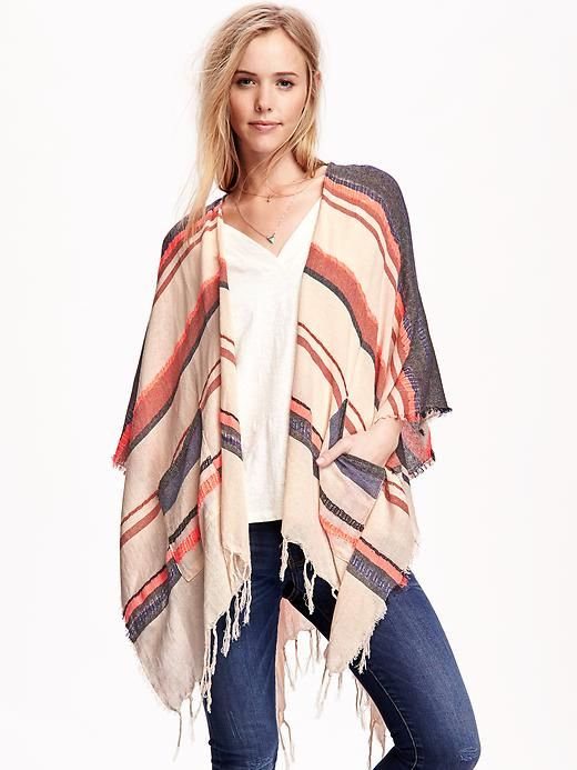 Textured Stripe Poncho Scarf for Women: