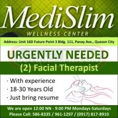 MEDISLIM WELLNESS CENTER URGENTLY NEEDED TWO (2) FACIAL THERAPIST