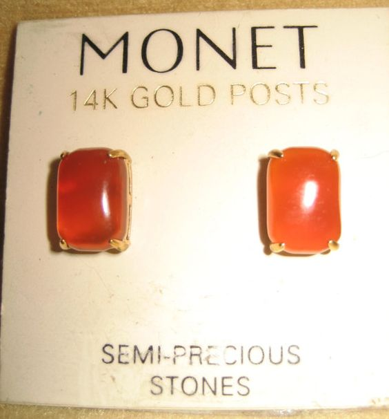 Monet Carnelian Earrings with 14K Gold Posts by DivineMissMDesigns