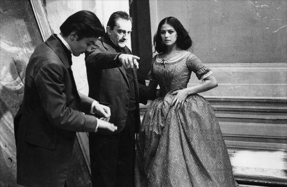 Alain Delon, Luchino Visconti & Claudia Cardinale in The Leopard • 1963
