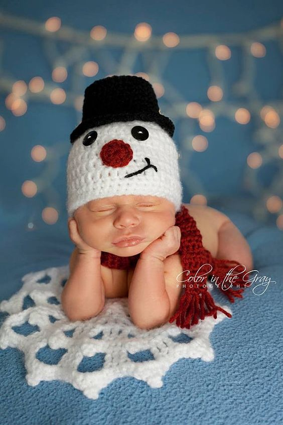 Crochet Snowman Hat With Scarf And Snowflake Newborn