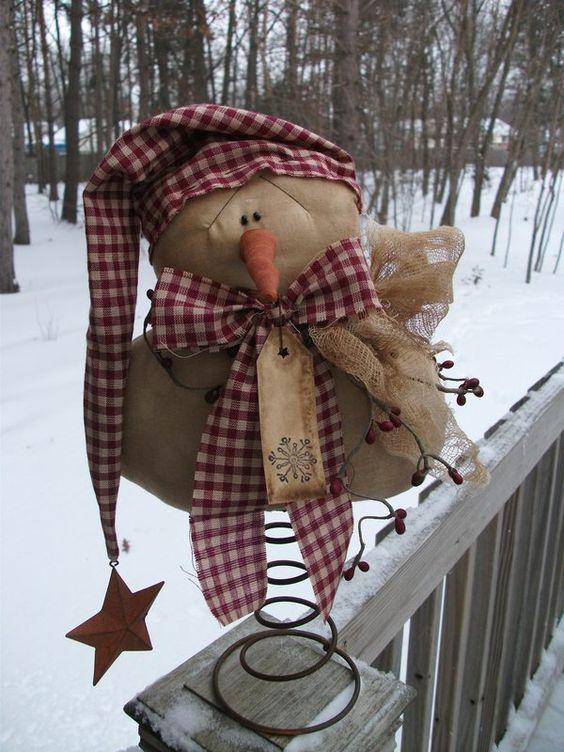 Primitive Christmas Winter Folk Snowman On Rusty Bed Spring