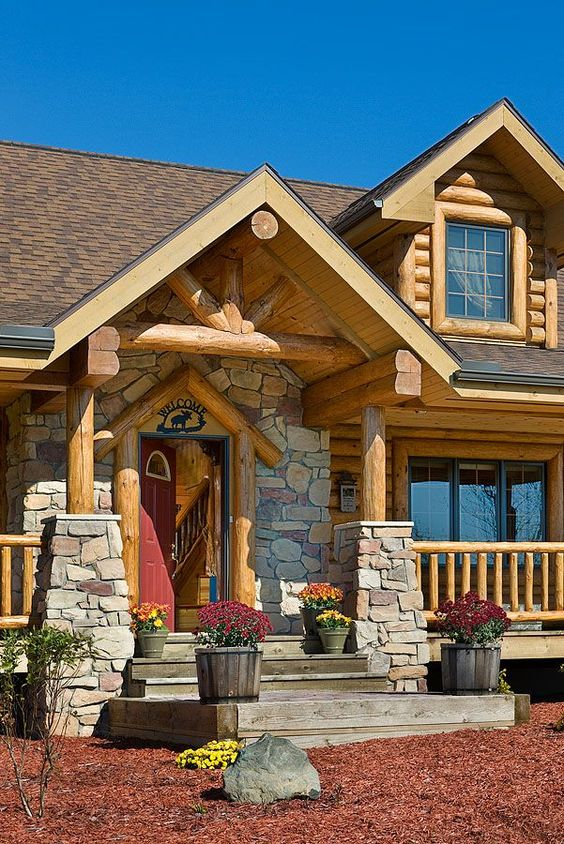 Log homes exterior log homes and home exteriors on pinterest for Log home pictures exterior