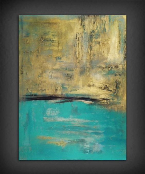 Abstract gold and turquoise painting painting for Pintura color turquesa