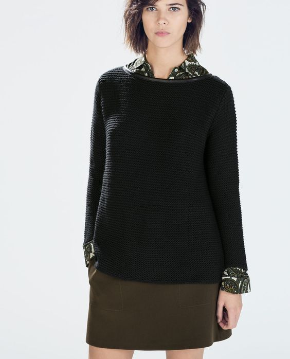 ZARA - WOMAN - SWEATER WITH FAUX LEATHER DETAIL