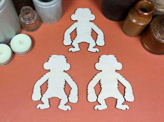 Monkey 10cm - Monkey wooden craft shapes x 3, Craftshapes