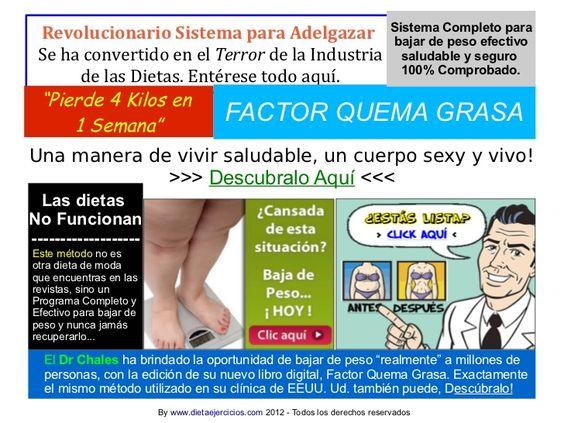 http://dietaejercicios.com/factor-quema-grasa by Dietas Adelgazar via Slideshare