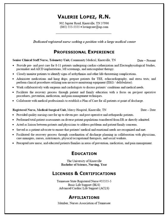 Sample Nursing Resumes - FREE Sample Resumes for Various Nursing - telemetry nurse sample resume